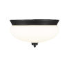 This item: Amon Matte Black Three-Light Flush Mount with Matte Opal Glass