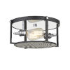 This item: Halycon Matte Black and Chrome Two-Light Flush Mount