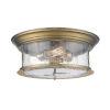 This item: Sonna Heritage Brass Three-Light Flush Mount with Transparent Seedy Glass