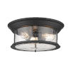This item: Sonna Matte Black Three-Light Flush Mount with Transparent Seedy Glass