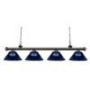 This item: Riviera Olde Bronze Four-Light Pendant with Dark Blue Shade