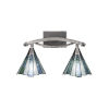 This item: Bow Brushed Nickel Two-Light Bath Vanity with Sea Ice Tiffany Glass