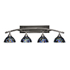 This item: Bow Brush Nickel 40-Inch Four-Light Bath Vanity with Blue Mosaic Tiffany