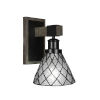 This item: Tacoma Matte Black and Distressed Wood-lock Metal Seven-Inch One-Light Wall Sconce with Diamond Ice Art Glass Shade