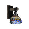 This item: Tacoma Matte Black and Distressed Wood-lock Metal Seven-Inch One-Light Wall Sconce with Sierra Art Glass Shade