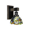 This item: Tacoma Matte Black and Distressed Wood-lock Metal Seven-Inch One-Light Wall Sconce with Earth Star Art Glass Shade