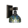 This item: Tacoma Matte Black and Distressed Wood-lock Metal Seven-Inch One-Light Wall Sconce with Turquoise Cypress Art Glass Shade