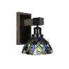 This item: Tacoma Matte Black and Distressed Wood-lock Metal Seven-Inch One-Light Wall Sconce with Blue Mosaic Art Glass Shade