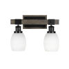 This item: Tacoma Matte Black and Distressed Wood-lock Metal 16-Inch Two-Light Bath Light with White Matrix Shade