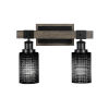 This item: Tacoma Matte Black and Distressed Wood-lock Metal 15-Inch Two-Light Bath Light with Black Matrix Shade