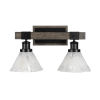 This item: Tacoma Matte Black and Distressed Wood-lock Metal 18-Inch Two-Light Bath Light with Italian Ice Shade