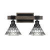 This item: Tacoma Matte Black and Distressed Wood-lock Metal 18-Inch Two-Light Bath Light with Pewter Art Glass Shade