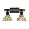 This item: Tacoma Matte Black and Distressed Wood-lock Metal 18-Inch Two-Light Bath Light with Starlight Art Glass Shade