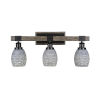 This item: Tacoma Matte Black and Distressed Wood-lock Metal 11-Inch Three-Light Bath Light with Gray Matrix Shade