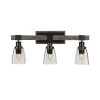 This item: Tacoma Matte Black and Distressed Wood-lock Metal 11-Inch Three-Light Bath Light with Clear Bubble Shade