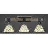 This item: Tacoma Matte Black and Distressed Wood-lock Metal 27-Inch Three-Light Bath Light with Sandhill Art Glass Shade