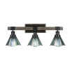 This item: Tacoma Matte Black and Distressed Wood-lock Metal 28-Inch Three-Light Bath Light with Sea Ice Art Glass Shade