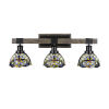 This item: Tacoma Matte Black and Distressed Wood-lock Metal 27-Inch Three-Light Bath Light with Earth Star Art Glass Shade