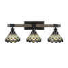 This item: Tacoma Matte Black and Distressed Wood-lock Metal 28-Inch Three-Light Bath Light with Cyprus Art Glass Shade