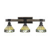 This item: Tacoma Matte Black and Distressed Wood-lock Metal 27-Inch Three-Light Bath Light with Diamond Peak Art Glass Shade