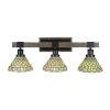 This item: Tacoma Matte Black and Distressed Wood-lock Metal 28-Inch Three-Light Bath Light with Starlight Art Glass Shade