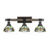 This item: Tacoma Matte Black and Distressed Wood-lock Metal 28-Inch Three-Light Bath Light with Pavo Art Glass Shade