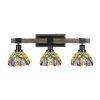 This item: Tacoma Matte Black and Distressed Wood-lock Metal 28-Inch Three-Light Bath Light with Lynx Art Glass Shade