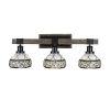 This item: Tacoma Matte Black and Distressed Wood-lock Metal 27-Inch Three-Light Bath Light with Royal Merlot Art Glass Shade