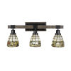 This item: Tacoma Matte Black and Distressed Wood-lock Metal 26-Inch Three-Light Bath Light with Cobblestone Art Glass Shade