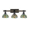 This item: Tacoma Matte Black and Distressed Wood-lock Metal 27-Inch Three-Light Bath Light with Kaleidoscope Art Glass Shade