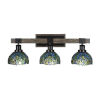 This item: Tacoma Matte Black and Distressed Wood-lock Metal 27-Inch Three-Light Bath Light with Turquoise Cypress Art Glass Shade
