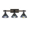 This item: Tacoma Matte Black and Distressed Wood-lock Metal 28-Inch Three-Light Bath Light with Blue Mosaic Art Glass Shade