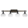 This item: Tacoma Matte Black and Distressed Wood-lock Metal 38-Inch Four-Light Bath Light with White Muslin Shade