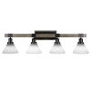 This item: Tacoma Matte Black and Distressed Wood 38-Inch Four-Light Bath Light with White Muslin Shade