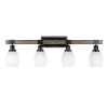 This item: Tacoma Matte Black and Distressed Wood-lock Metal 11-Inch Four-Light Bath Light with White Matrix Shade