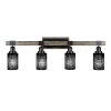 This item: Tacoma Matte Black and Distressed Wood-lock Metal 12-Inch Four-Light Bath Light with Black Matrix Shade