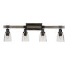 This item: Tacoma Matte Black and Distressed Wood-lock Metal 11-Inch Four-Light Bath Light with Clear Bubble Shade