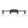This item: Tacoma Matte Black and Distressed Wood-lock Metal 38-Inch Four-Light Bath Light with Italian Ice Shade