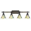 This item: Tacoma Matte Black and Distressed Wood-lock Metal 38-Inch Four-Light Bath Light with Sequoia Art Glass Shade