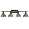 This item: Tacoma Matte Black and Distressed Wood-lock Metal 38-Inch Four-Light Bath Light with Kaleidoscope Art Glass Shade