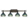 This item: Tacoma Matte Black and Distressed Wood-lock Metal 38-Inch Four-Light Bath Light with Turquoise Cypress Art Glass Shade