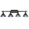 This item: Tacoma Matte Black and Distressed Wood-lock Metal 39-Inch Four-Light Bath Light with Blue Mosaic Art Glass Shade