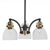 This item: Easton Matte Black and Brass 18-Inch Three-Light Chandelier with Black Bubble Shade