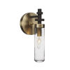 This item: Salinda Espresso and Brass One-Light Wall Sconce with Clear Bubble Glass
