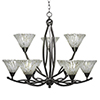 This item: Bow Brushed Nickel 33-Inch Nine-Light Chandelier with Italian Ice Glass