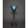 This item: Swan Bronze Seven-Inch One-Light Table Lamp with Teal Crystal Glass
