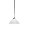 This item: Paramount Matte Black and Brushed Nickel 12-Inch One-Light Pendant with White Matrix Glass Shade