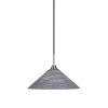 This item: Paramount Matte Black and Brushed Nickel 16-Inch One-Light Pendant with Gray Matrix Glass Shade