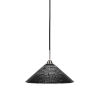 This item: Paramount Matte Black and Brushed Nickel 16-Inch One-Light Pendant with Black Matrix Glass Shade