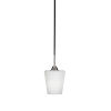 This item: Paramount Matte Black and Brushed Nickel One-Light Mini Pendant with White Matrix Glass Shade